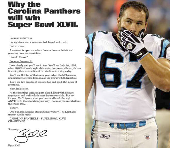 ryan kalil makes bold superbowl prediction carolina panthers